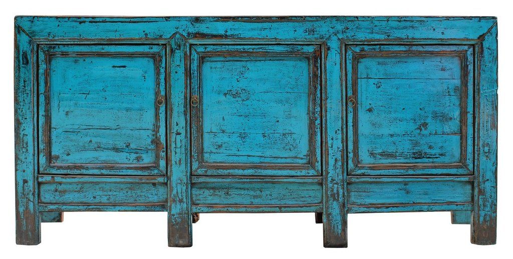 Distressed Rustic Blue Lacquer Sideboard Console Table Cabinet