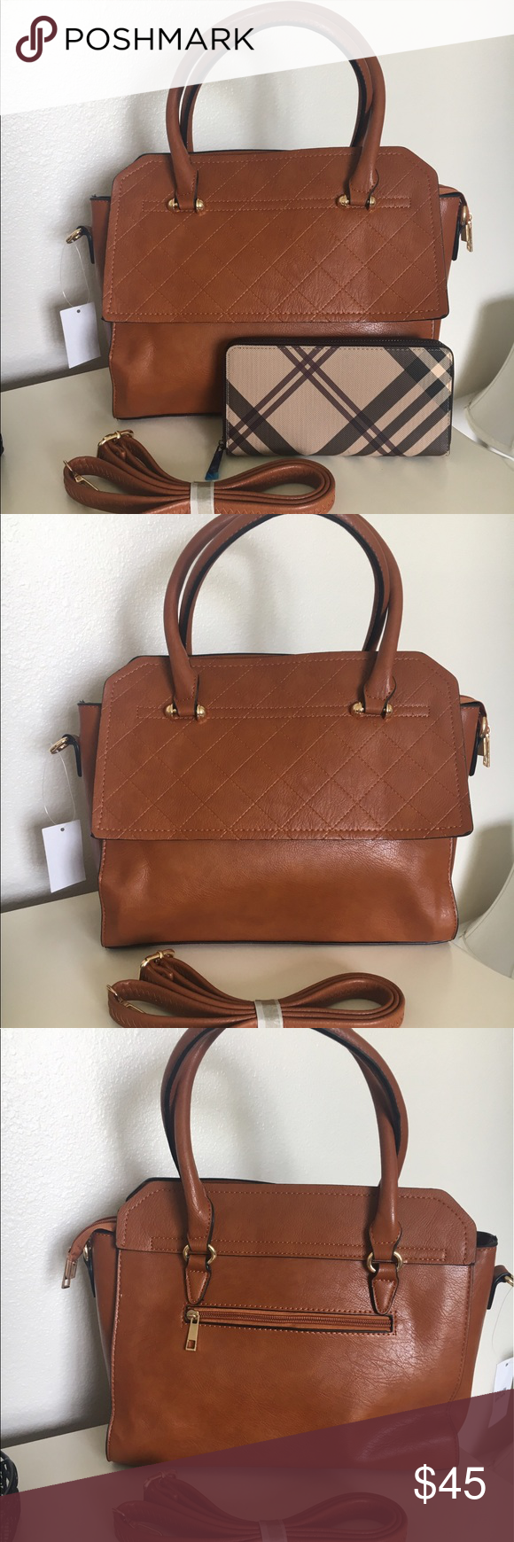 Brown purse with wallet bundle!!! ❤ New fashion purse with detachable strap that can be used as crossbody comes with wallet. Not exact pattern but looks well together. Purse can be sold separately. Bags Crossbody Bags