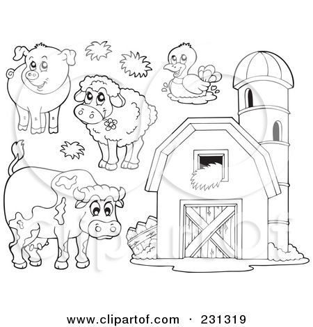Royalty Free Rf Clipart Illustration Of A Coloring Page Outline Farm Animal Coloring Pages Farm Coloring Pages Animal Coloring Pages