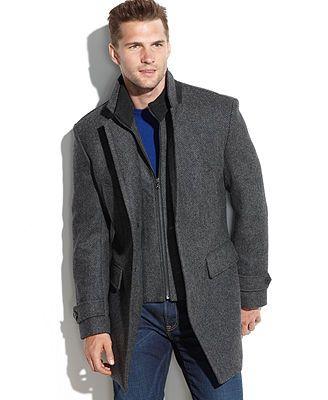 2295858f3ab10 MICHAEL Michael Kors Englewood Wool-Blend Herringbone Walking Coat   Reviews  - Coats   Jackets - Men - Macy s