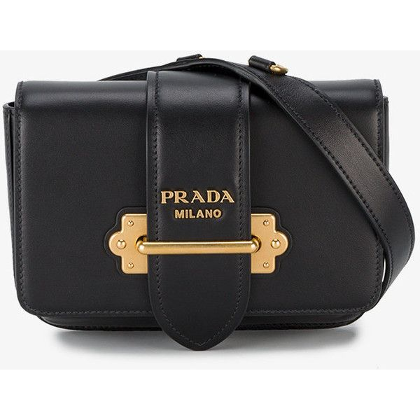 2fa01241f51 Prada Cahier Belt Bag (7.150 RON) ❤ liked on Polyvore featuring bags,  leather strap bag, prada, logo bags, hardware bag and waist fanny pack
