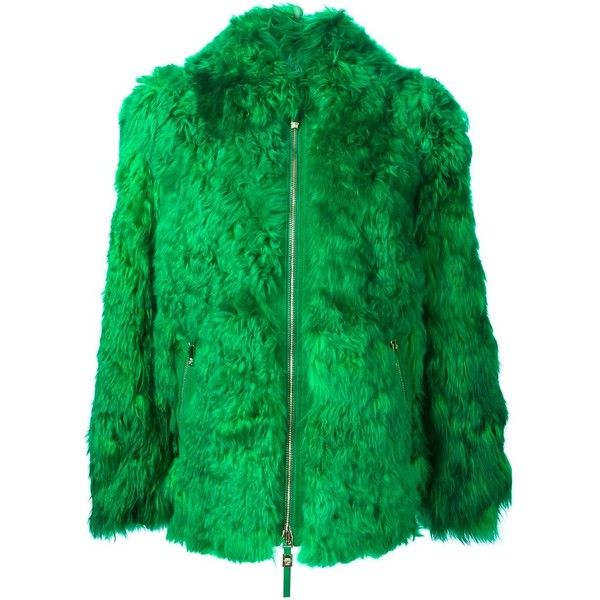 aa1fd005e1d7 Versace lama fur jacket ($3,980) ❤ liked on Polyvore featuring outerwear,  jackets, green, green jacket, fur jacket, short jacket, fur collar jacket  and ...