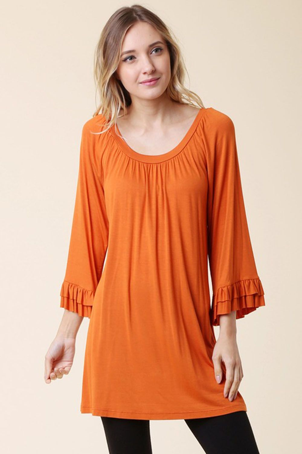 Solid round neck top plus size products pinterest rounding and