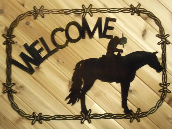 Metal Welcome Sign Metal Wall Art Cowboy on Horse in Barbed Wire By ...
