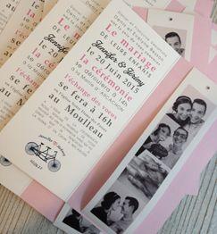 faire part mariage vintage rose vlo - Faire Part Photomaton Mariage