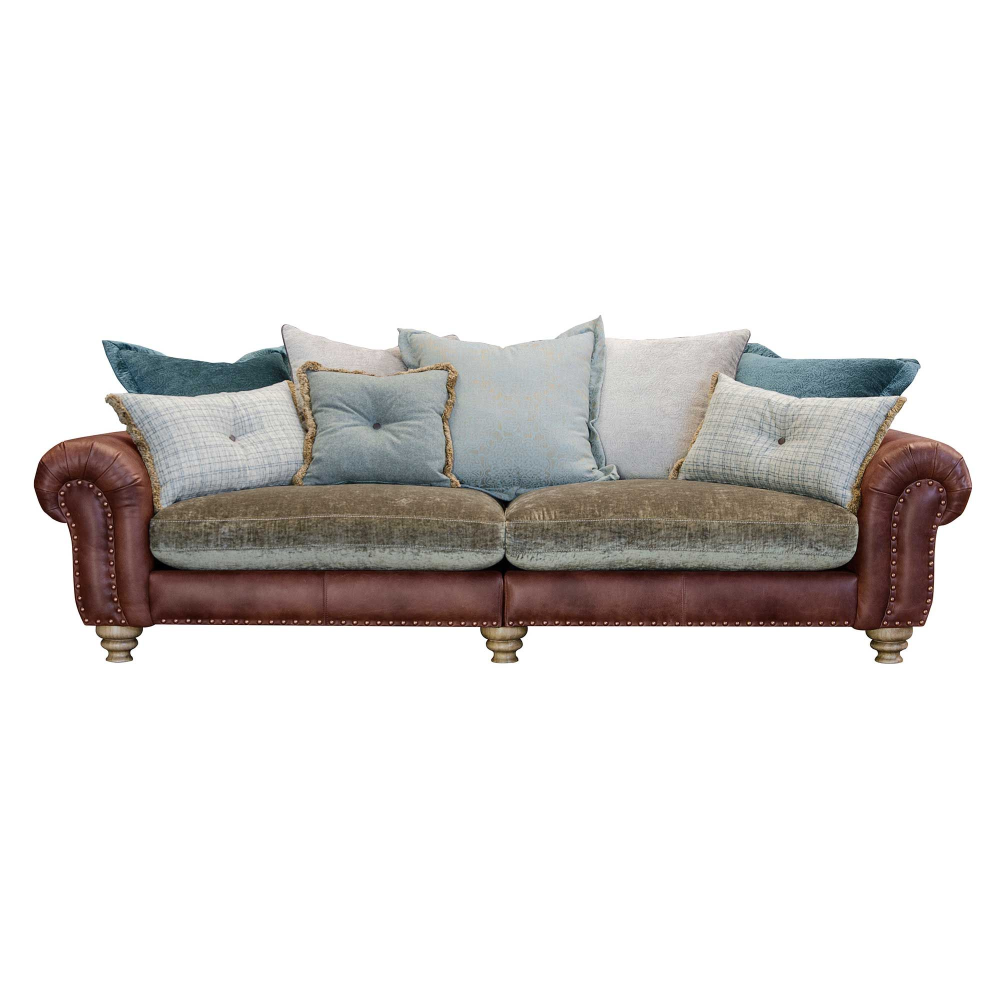 Dorchester Grand Split Pillow Back Sofa Leather And Fabric Mix Sofas Living Room Sofa Couch Fabric Free Couch