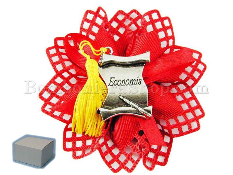 Pergamena Laurea in Economia in metallo argentato, scatola e confetti inclusi