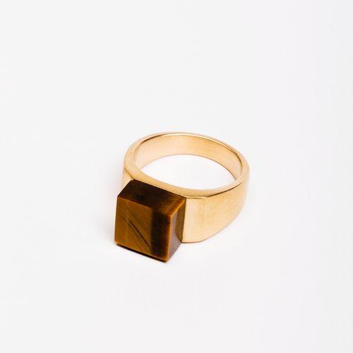 MING YU WANG Jewelry Pixel Brass Ring w/ Tiger's Eye Gemstone $449.00 www.mingyuwangnewyork.com