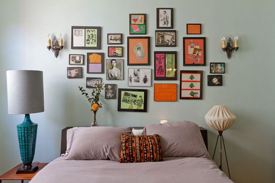 THIS. I am going to do this, but not at the head of my bed, but on the opposite side where I can actually see it!   From: http://www.apartmenttherapy.com/samers-art-deco-apartment-form-155988