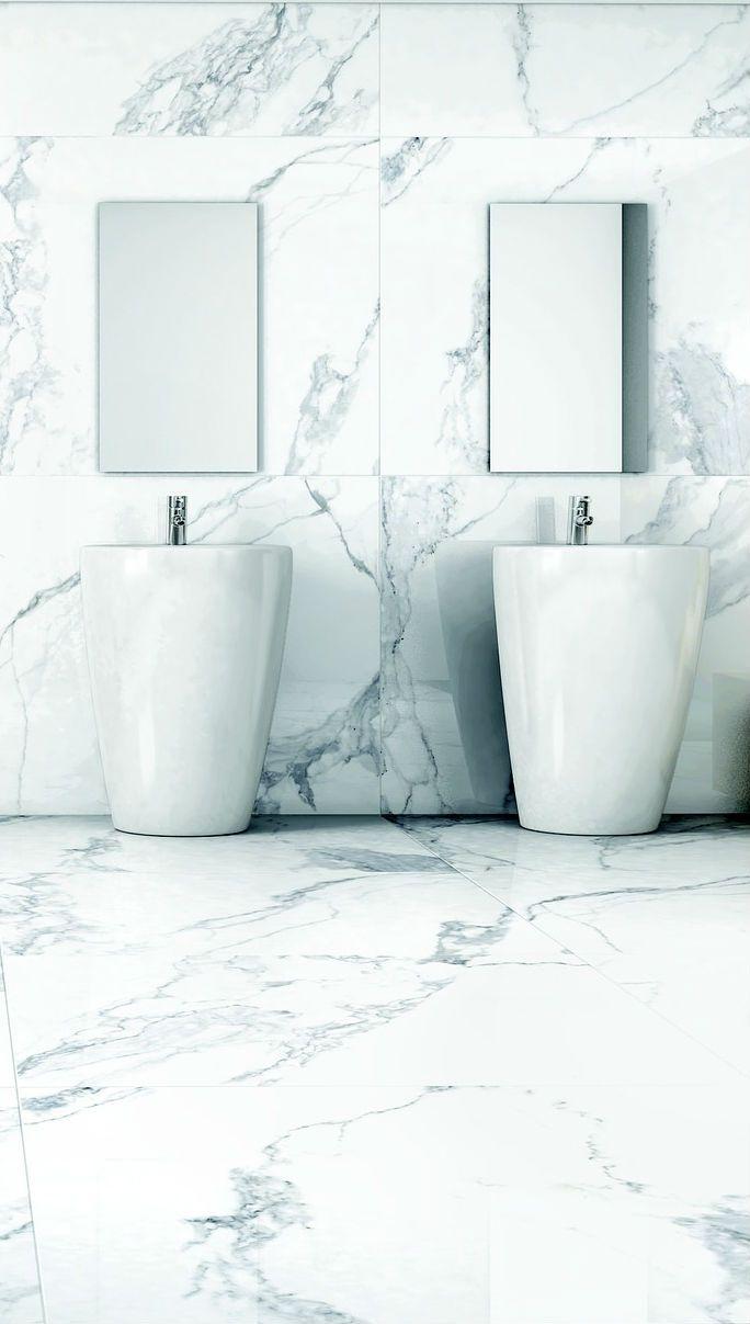 A sophisticated marble master bathroom. #marble #floor #bathroom ...