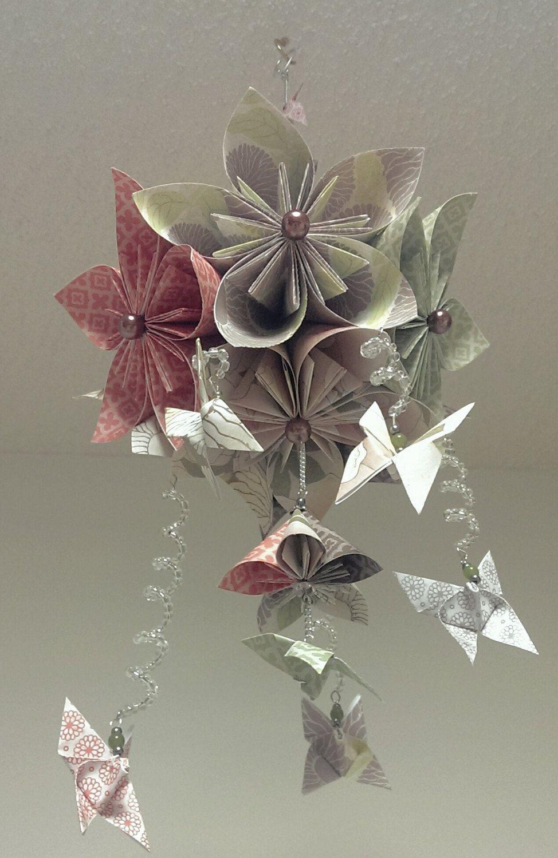 Baby girl flower mobile kusudama flower ball baby mobile origami baby mobile with flowers and butterflies by stellarorigami mightylinksfo