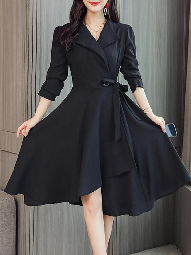 Fold Over Collar  Asymmetric Hem  Plain Skater Dress -   14 cute dress Classy ideas
