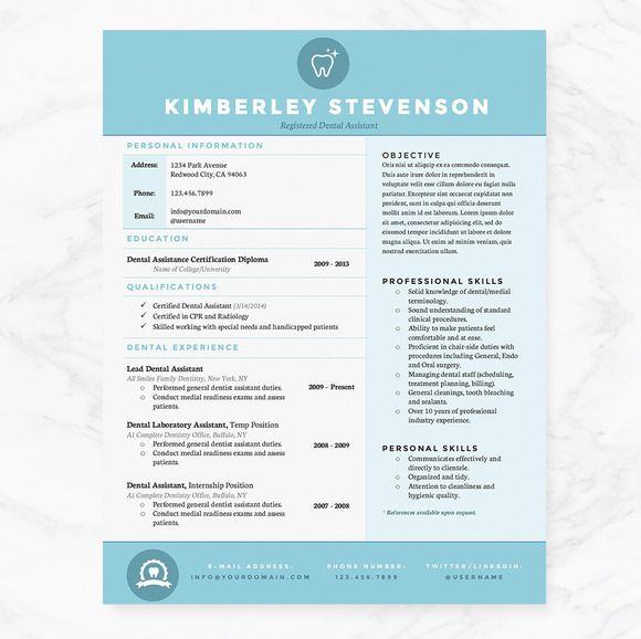 Crisp Blue Resume Template Pkg by JannaLynnCreative on Creative - dental resume template