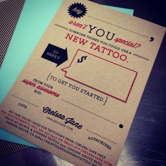 Tattoo gift certificate to anywhere with great art and trusted - make your own gift certificates free