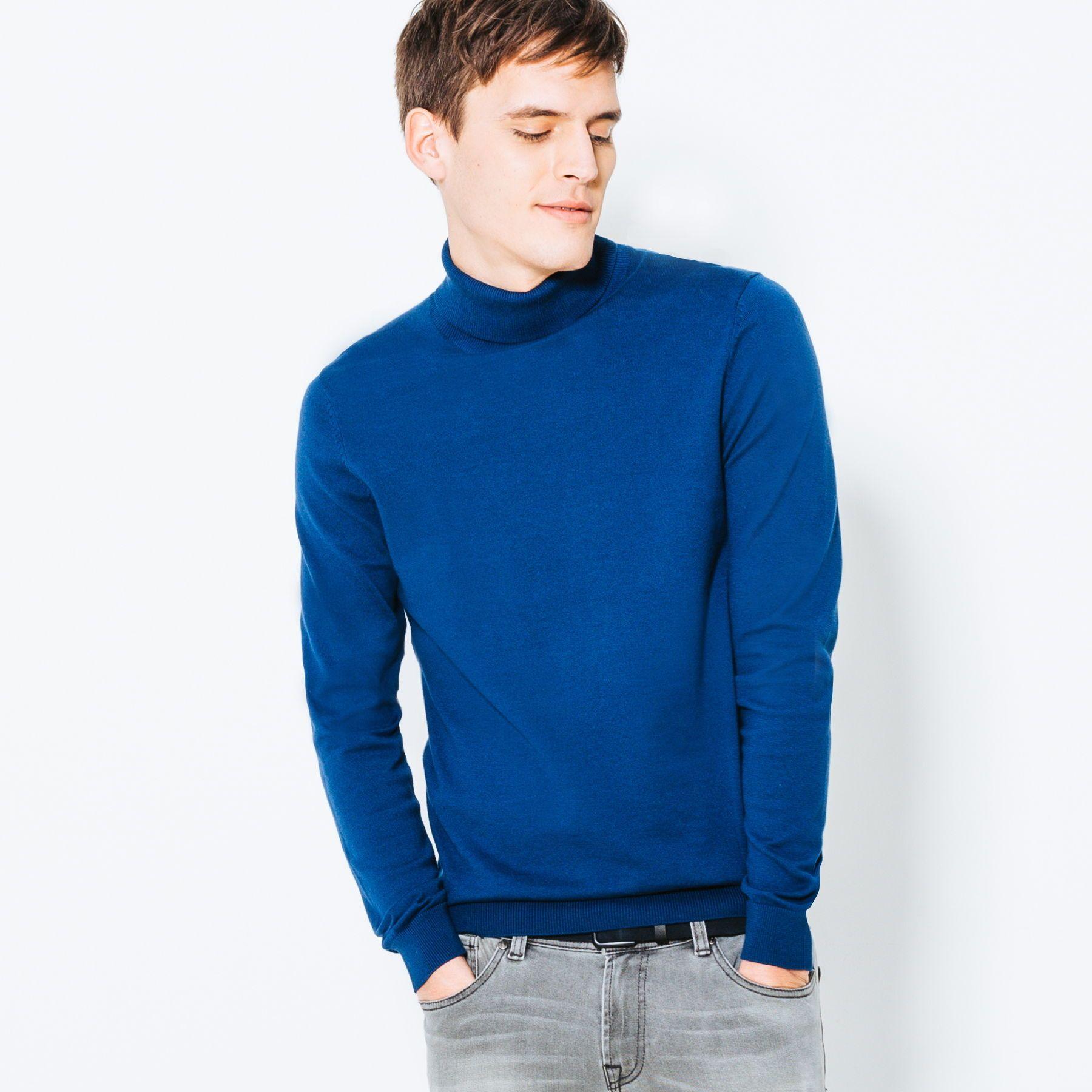 Pull col roulé basic - Vêtement Homme - Bleu   LE BLEU   Turtle neck ... fb87e50b3f7