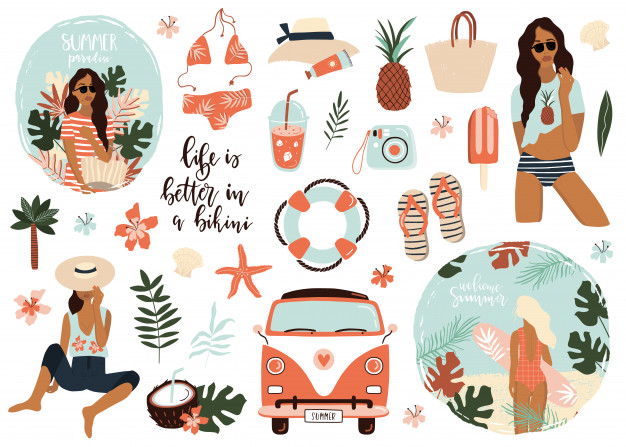 summer icons collection digital sticker aesthetic stickers summer sticker pinterest