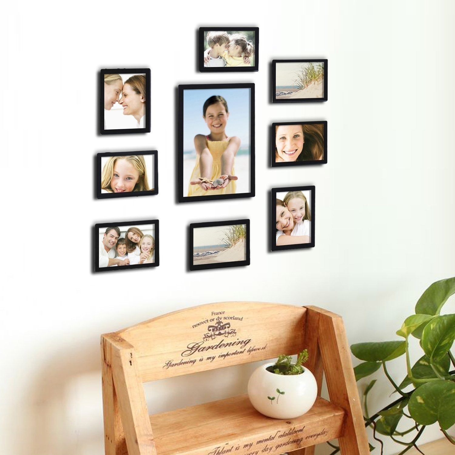 Adeco Decorative Black Wood 10 Piece Photo Frame Set For 8 4 X 6 Inch 1 6 X 8 Inch And 1 8 X 12 Inch Pictures Wall Hanging Photo Frames Hanging Photos Decor