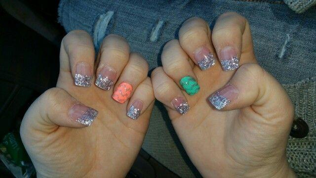 Silver tips, Chevron accent nails, silver chevron nails.