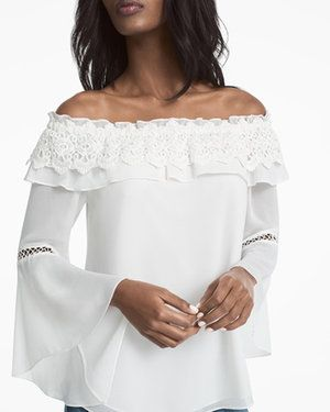 Off-The-Shoulder Crochet Trim Blouse
