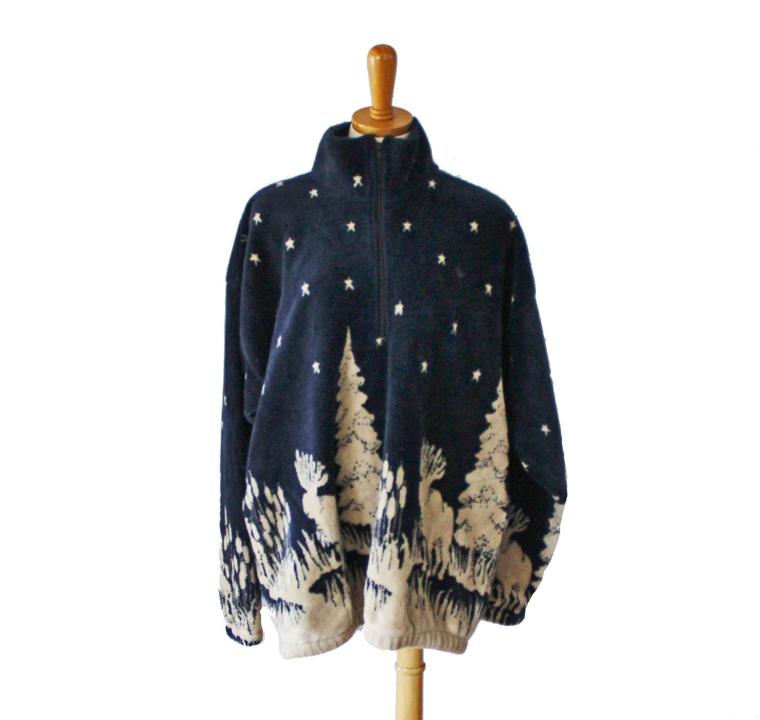 Vintage 90s Moose Tree Pattern Fleece Jacket - Beige Black - Women ...