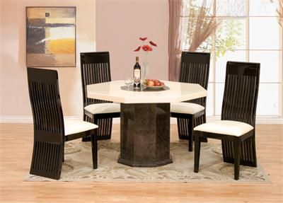 Pesaro Ivory Brown Octagon Marble Table Set Dining Table Marble