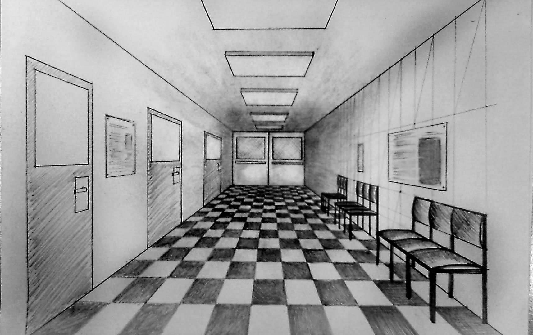 How to draw  One point perspective corridor of hospital