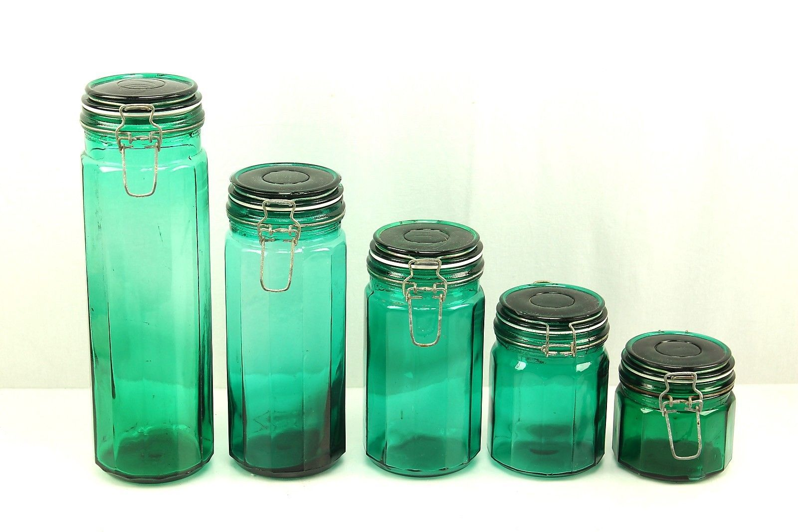 Vintage Green Glass Panel Hermetic Apothecary Kitchen