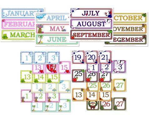 Gingham Calendar Day Month Printables Classroom Calendar