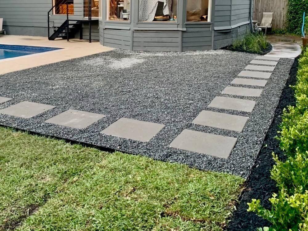 Patio Black Star Gravel Landscaping Rocks With Concrete Pavers Walkway Landscape Design Houston T Concrete Pavers Walkway Concrete Pavers Concrete Paver Patio