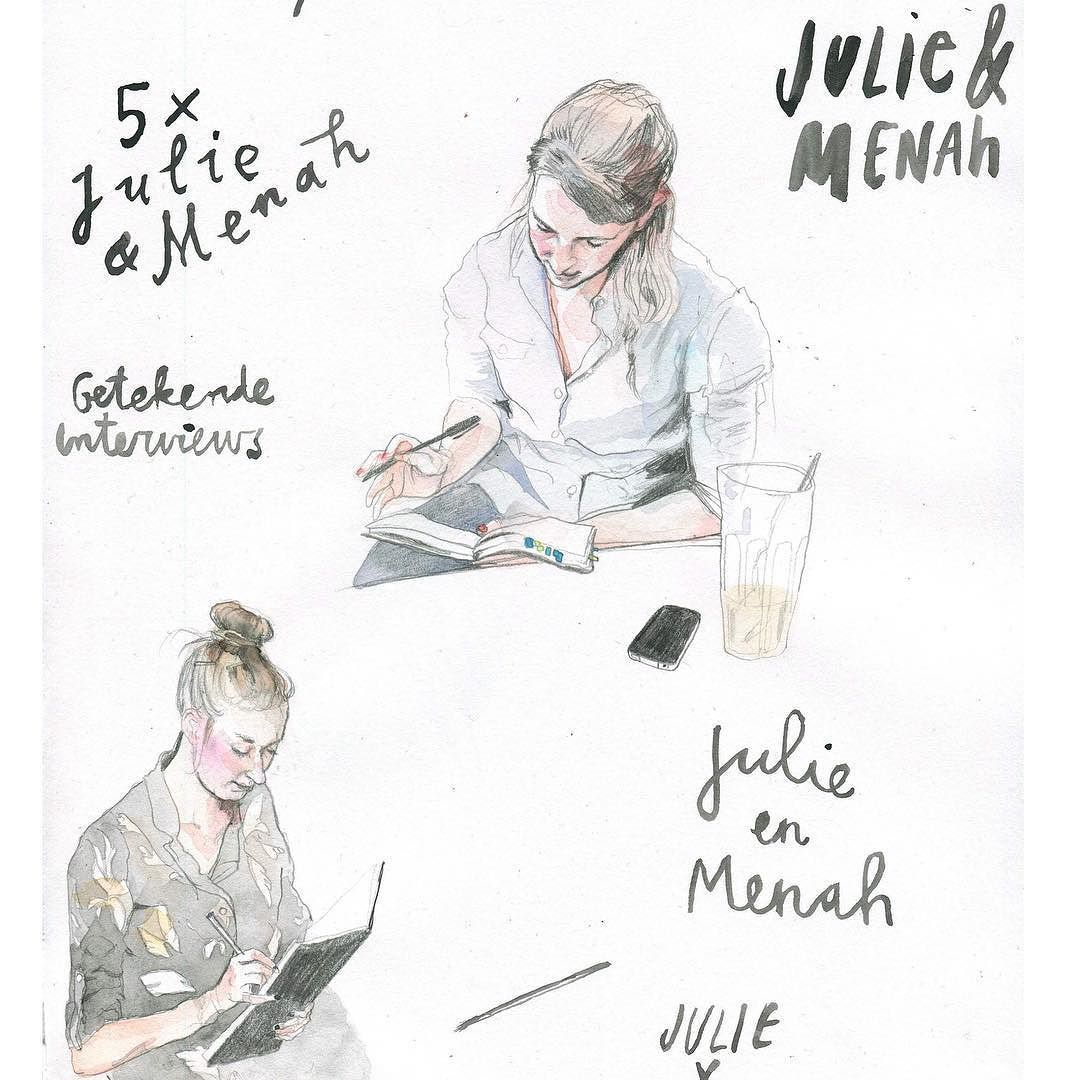 Want an interview with custom made drawings? Meet this journalist-illustrator duo. Me and my buddy @julie_degraaf love package deals & coproductions. #drawninterview #illustratedjournaling #illustratedjournalism #illustratedinterview #JEMRHGDJDNF #journalism #editorial #magazine #illustration #art #portrait #drawing #ballpoint #menah #amsterdam #sketch #sketchbook #doodle #comic #newyork #brooklyn #berlin #watercolor #biro #julie&menah