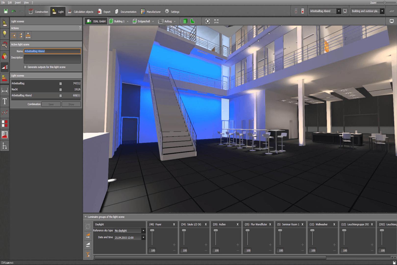 Dialux Evo Lichtszenen Lehrbeispiel Building Design Lighting Design Architecture