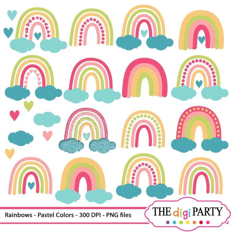 Pastel Rainbow Cliparts Glitter Png File Download Clip Art Sublimation Printable Images Rainbow Clipart Pastel Rainbow Clip Art