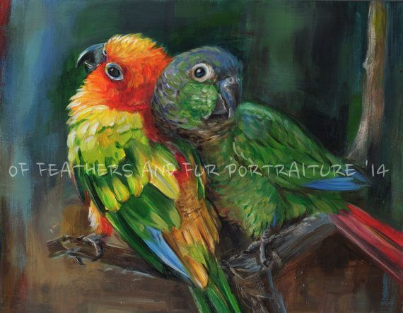 Canvas Giclee print of a Green Cheek by FeathersnFurPortrait