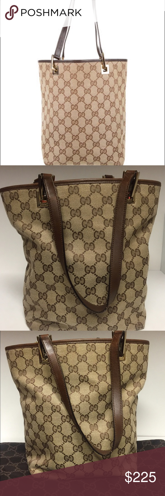 27d35cdda0e Gucci GG canvas small tote. Serial   0021099002058 It s brown and tan canvas  fabric with the GG. It has gold hardware and 2 flat brown leather straps.