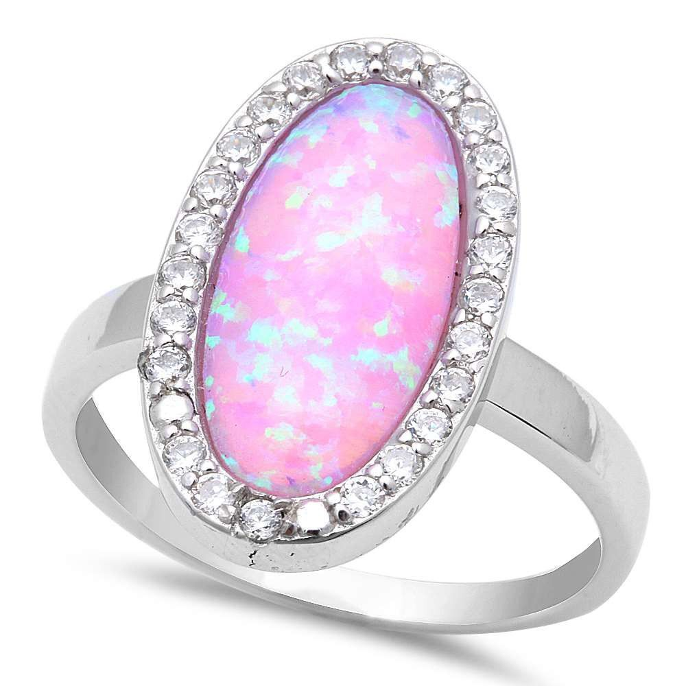 Halo Wedding Engagement Solid 925 Sterling Silver Oval Cut Lab Pink ...