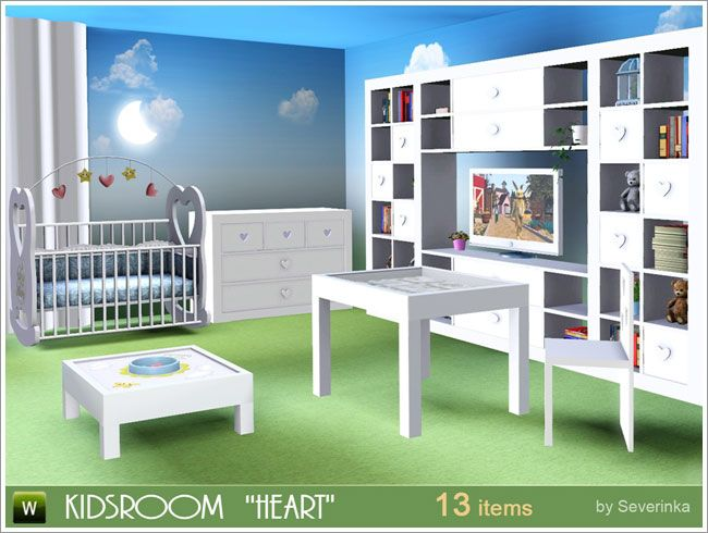 Heart room for kids by Severinka Sims 3 Downloads CC