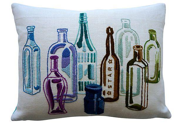 Crewel Bottles Pillow on OneKingsLane.com