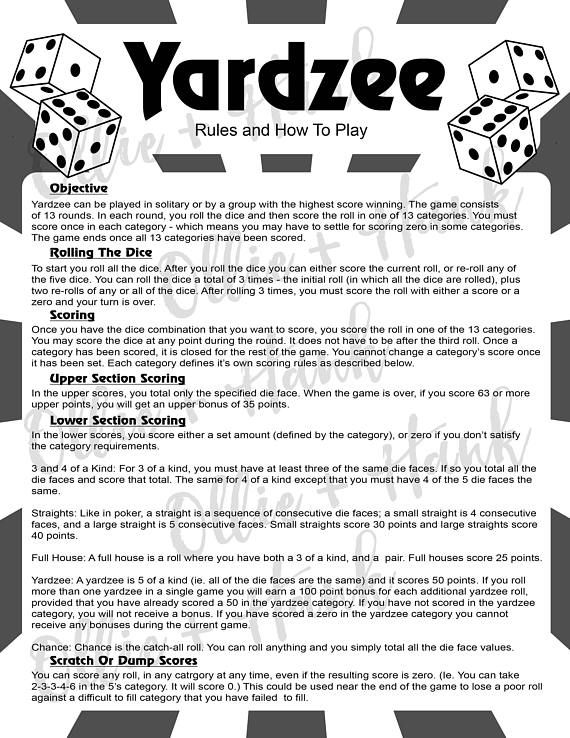 Image result for printable yahtzee rules pdf Yardzee Rules - sample yahtzee score sheet