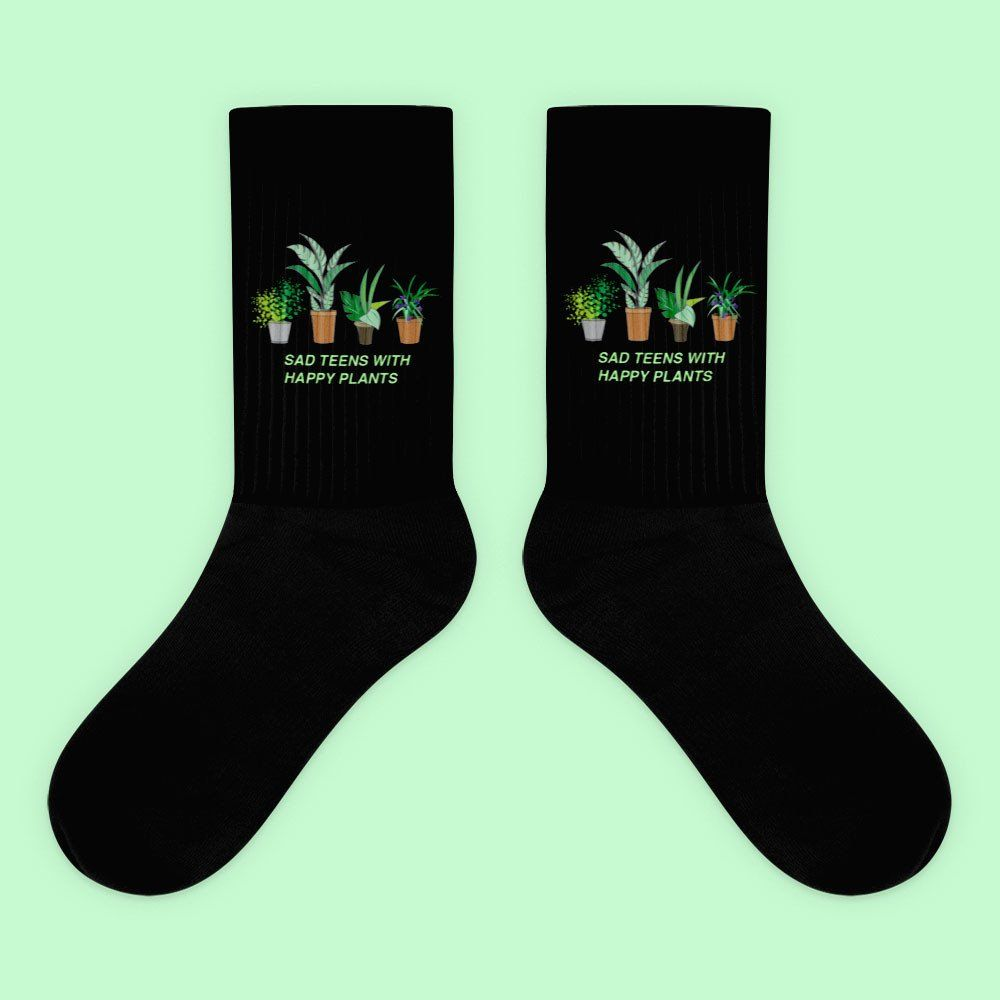 KOKO - SAD TEENS WITH HAPPY PLANTS SOCKS (MADE IN USA- SWEATSHOP FREE)