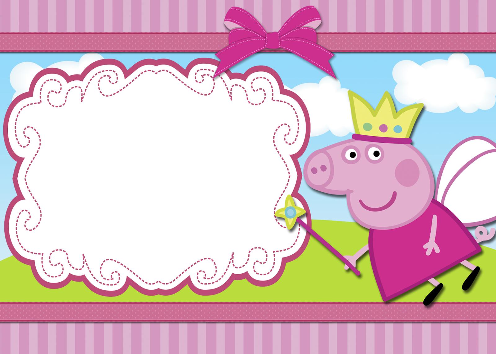 Peppa Pig Printable Birthday Decorations ~ Moldura peppa freebies pinterest