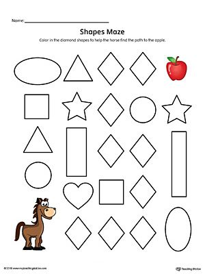 Diamond Shape Maze Printable Worksheet (Color) in 2018 | Shapes ...