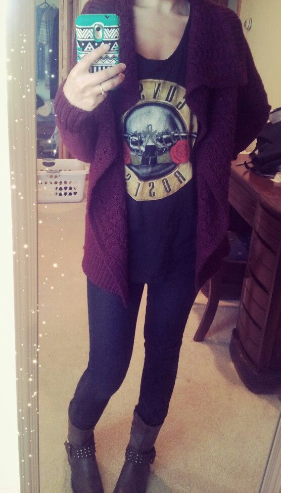 Maroon Wrap Sweater | Graphic Tank | Black Jeans | Studded Ankle Boots