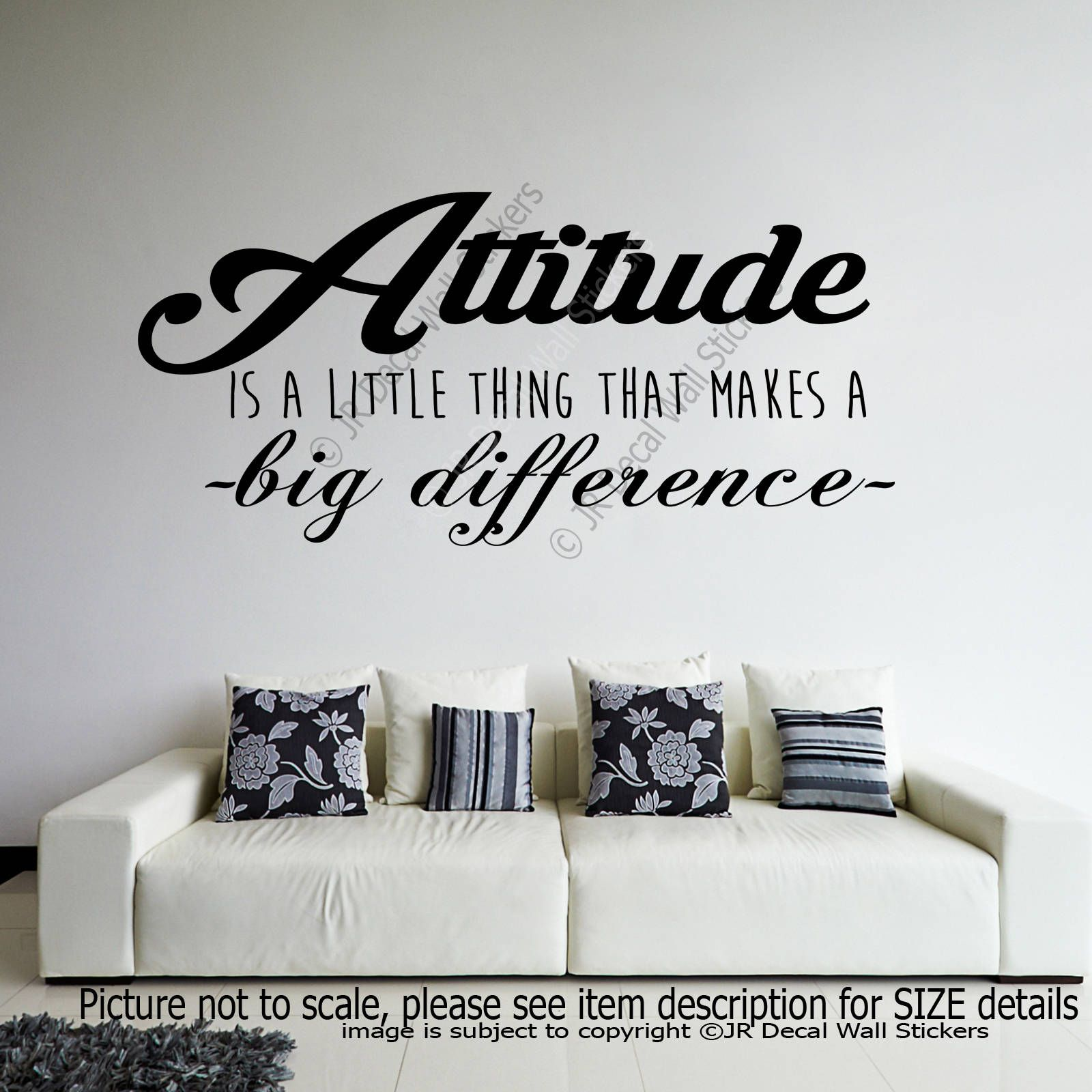 Attitude makes a big difference inspiring quote removable