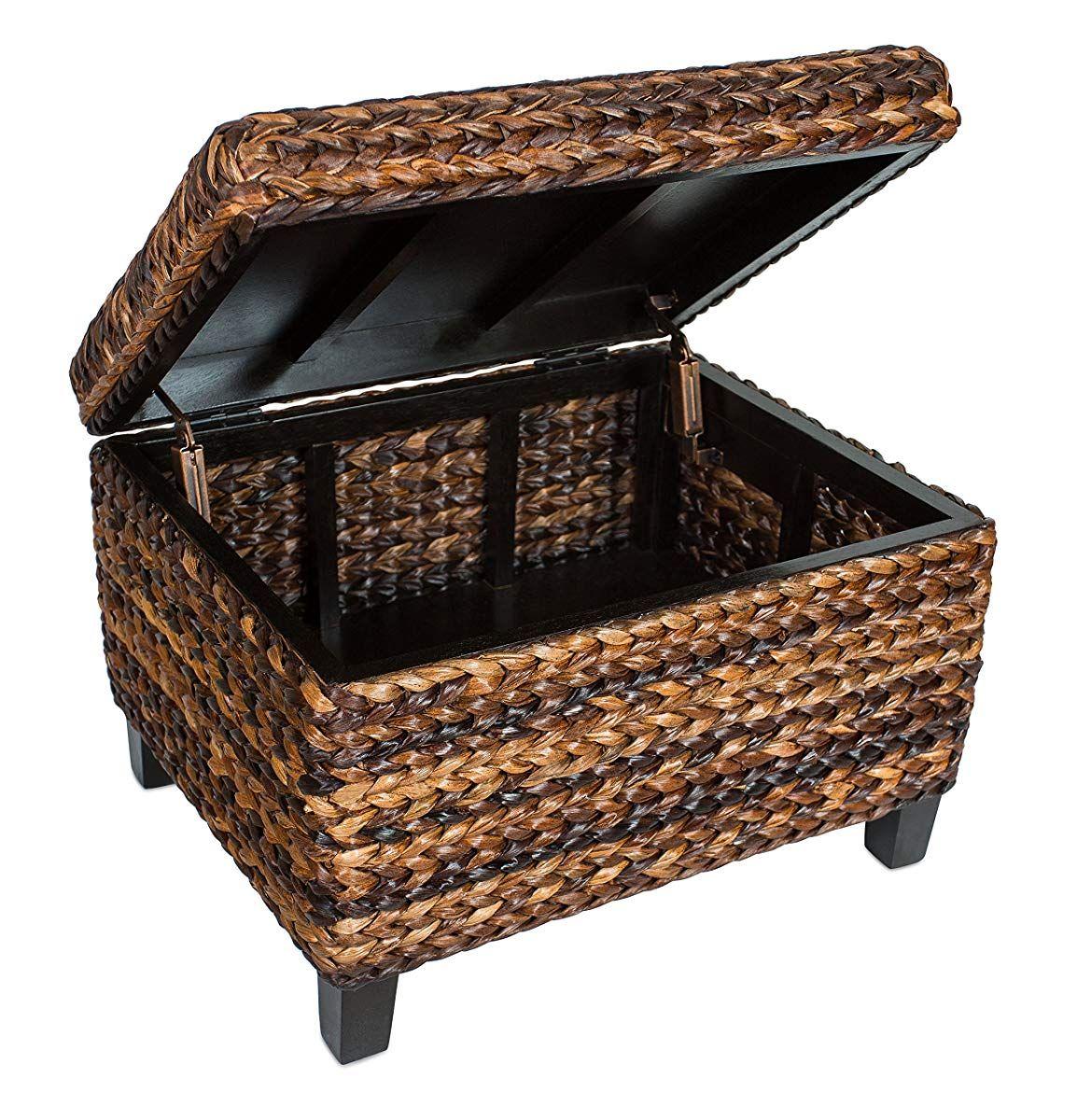 Rattan Coffee Table And Storage Ottoman Rustic Living Room