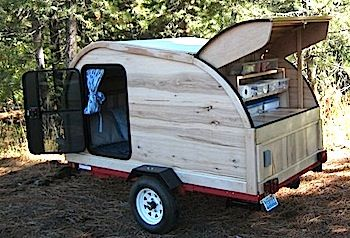 The Hickory Wood Custom Made Wooden Teardrop Trailer For Sale