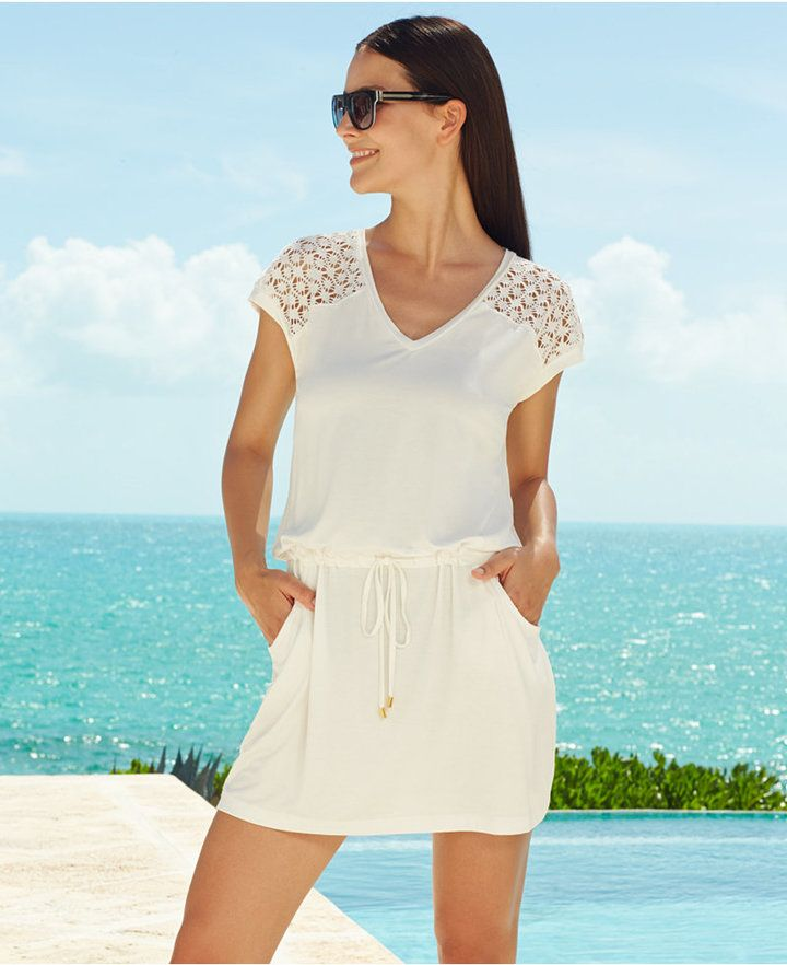 be166e7b3ccc6 Calvin Klein Crochet-Shoulder Tunic Cover Up | My Style | Swim cover ...