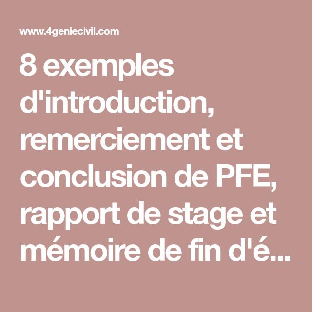 8 exemples d u0026 39 introduction  remerciement et conclusion de pfe  rapport de stage et m u00e9moire de fin