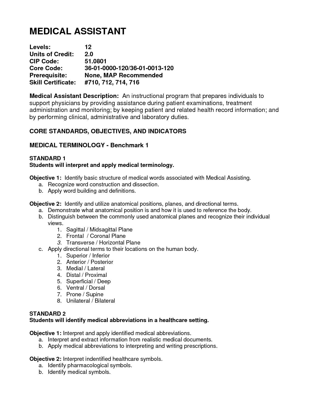 Free Resume Templates Entry Level Medical assistant