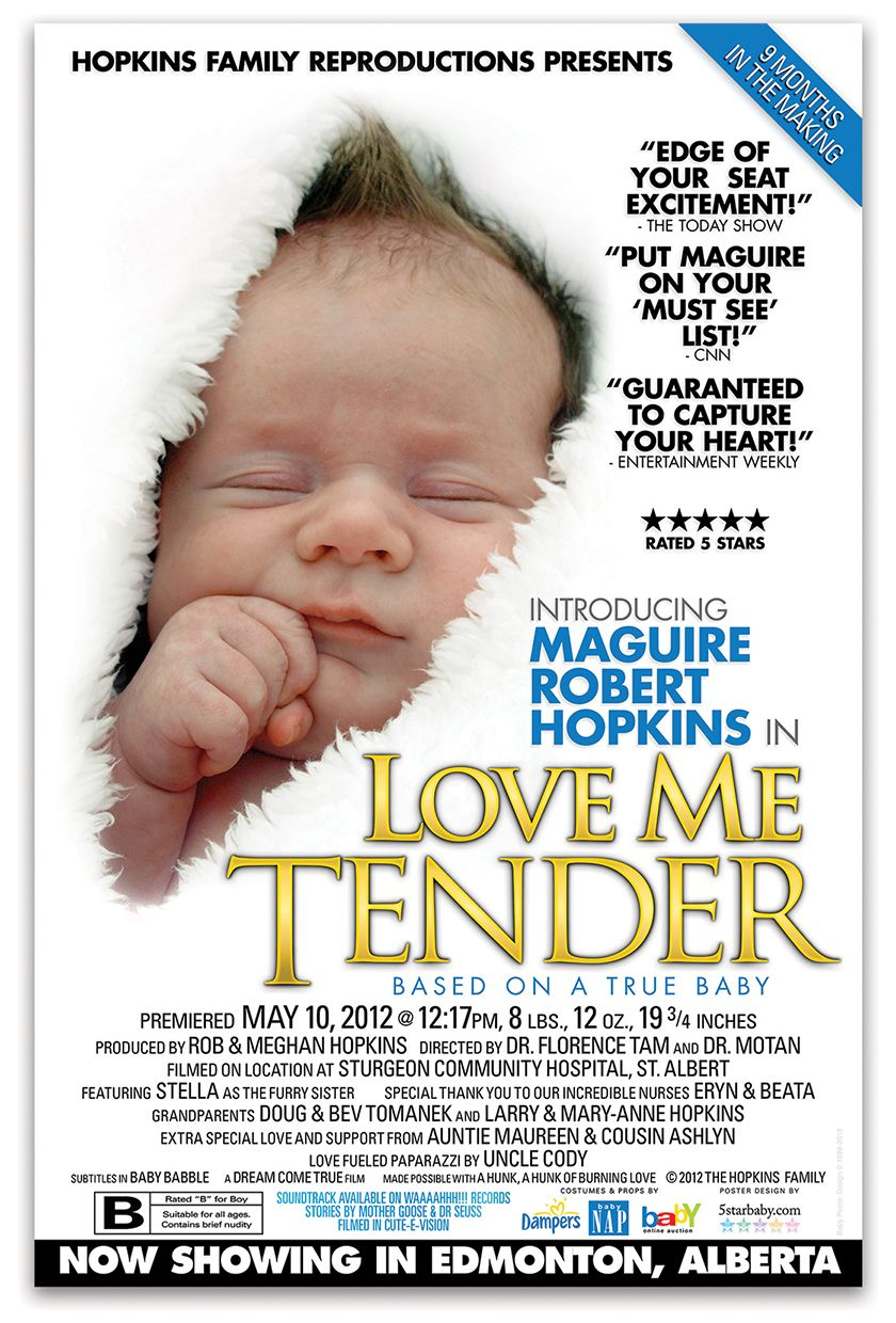 Announce newborn creative idea baby movie poster boy announcement love me tender birth announcements baby announcements