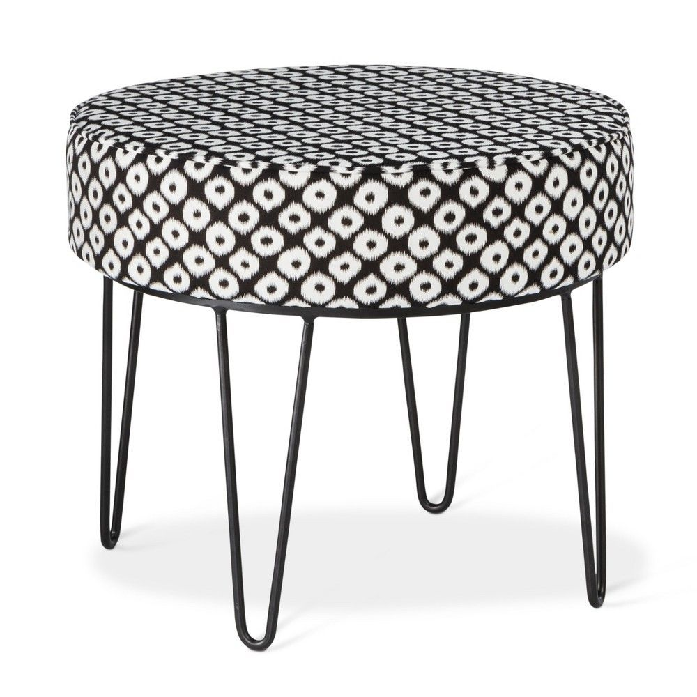 Astounding Carman Round Ottoman With Hairpin Legs Black White Ikat Gmtry Best Dining Table And Chair Ideas Images Gmtryco